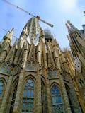 Profile view of the Basilica Sagrada Familia in Barcelona, Spain stock photos