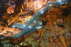 Great cave, Grotta di Su Mannau, Fluminimaggiore, Sardinia. Tourists visit the cave of `Su Mannau` translation: Great Cave, considered one of the largest to stock photo