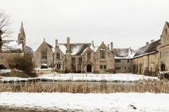 Great Chalfield Manor in the snow. A National Trust Property between Trowbridge, Bradford on Avon and Melksham, Wiltshire in the snow Royalty Free Stock Photo