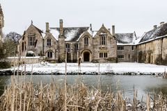 Great Chalfield Manor, snow scene. A National Trust property near Trowbridge, Bradford on Avon and Melksham in Wilthisre Royalty Free Stock Image