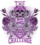 The great challenge. Skull and roses on a skate board Royalty Free Stock Photography