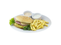 Cheeseburger with potato and sauce Royalty Free Stock Photography