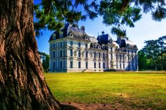 Castles of Loire valley - elegant Cheverny with beautiful park. Stock Image