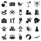Great childhood icons set, simple style Royalty Free Stock Photo