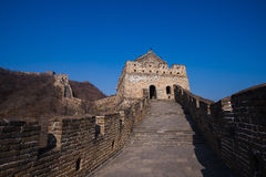 The great china wall with sunset glow Royalty Free Stock Images