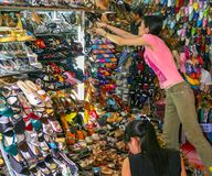 Great choice of shoes at HCMC Market Stock Image