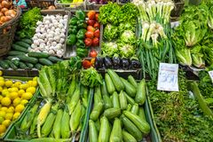 Great choice of vegetables for sale. At a market in Valparaiso, Chile Royalty Free Stock Image