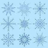Great_3_Christmas and new year set of elements for snowflake bac. Vector large Christmas and new year set of snowflake design elements for decoration and design vector illustration