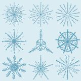 Great_1_Christmas and new year set of elements for snowflake bac. Vector large Christmas and new year set of snowflake design elements for decoration and design stock illustration
