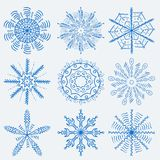 Great Christmas and new year set of elements for snowflake backg. Vector large Christmas and new year set of snowflake design elements for decoration and design vector illustration