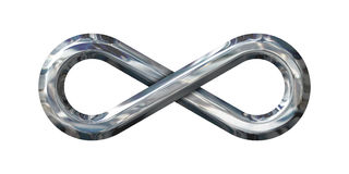 Great Chrome Infinity Sign on white stock image