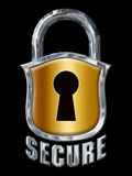 Great Chrome Secure Lock with Shield on Black royalty free stock photography