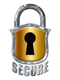 Great Chrome Secure Lock with Shield on White stock images