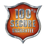 Great Chrome Secure Shield on white Royalty Free Stock Photos