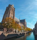 Great Church in Dordrecht on a sunny autumn day stock image