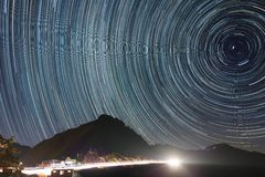 Great circle star trail at Hehuanshan, Taiwan Royalty Free Stock Image