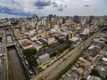 Great cities, great avenues, houses and buildings. Light district Bairro da Luz, Sao Paulo Brazil, Rail and subw royalty free stock photography