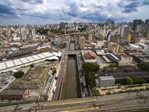 Great cities, great avenues, houses and buildings. Light district Bairro da Luz, Sao Paulo Brazil, Rail and subw royalty free stock photos