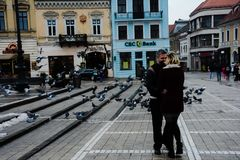 People and pigeons royalty free stock photo