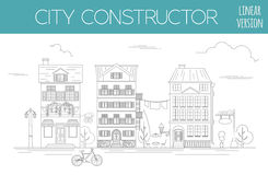 Great city map creator. Outline version. House constructor. Hous Stock Photography