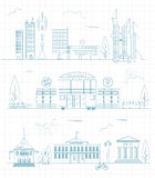 Great city map creator. Outline version. House constructor. Hous Stock Photo