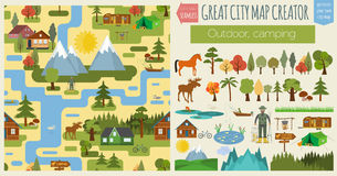Great city map creator.Seamless pattern map. Camping, outdoor, c Royalty Free Stock Image
