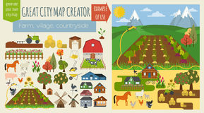 Great city map creator.Seamless pattern map. Village, farm, countryside, agriculture. Make your perfect city. Vector illustration royalty free illustration