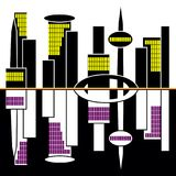 Great city panorama with bright lights and reflection royalty free illustration