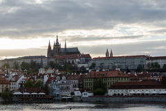 Great city. Prague in the cloudy sky Stock Photos