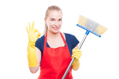 Great cleaning services concept with beautiful housekeeping lady royalty free stock photos