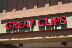 Great Clips Hair Salon. National franchise chain Great Clips sign Stock Image