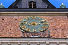 Great clock on the town hall tower on main market square , Krakow, Poland. Royalty Free Stock Photos