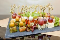 Photo of canape on the tray Royalty Free Stock Image