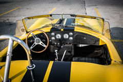 Great closeup view of classic retro vintage race car open cab and dashboard royalty free stock photos