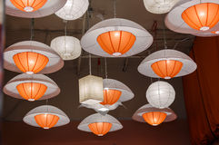 Great closeup view of  modern interior stylish ceiling colorful lights Royalty Free Stock Images