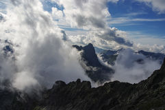 Great clouds on the mountain peaks. Tatry. Stock Photos