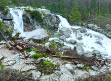 Great Cold Valley summer view (High Tatras, Slovakia). Waterfall in Great Cold Valley (Velka Studena dolina) summer view. High Tatras, Slovakia royalty free stock photography