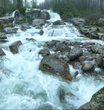 Great Cold Valley summer view (High Tatras, Slovakia). Waterfall in Great Cold Valley (Velka Studena dolina) summer view. High Tatras, Slovakia royalty free stock photo