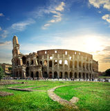 Great colosseum at sunset Stock Images