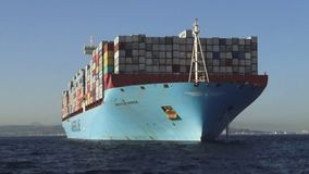 Super containership Mathilde Maersk anchored in Algeciras bay. Great containership waiting anchored in Algeciras bay for be docked in port in Cadiz stock video