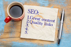 Great content and links SEO tips Stock Images