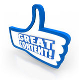 Great Content Thumbs Up Feedback Website Approval. A blue thumb's up symbol with words Great Content to illustrate online features, articles or advice that is stock illustration