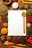 Great cookbook and spices Stock Image
