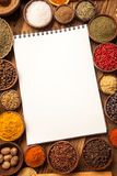 Great cookbook and spices top view Royalty Free Stock Image