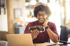 This is a great copy. African American man in office royalty free stock image