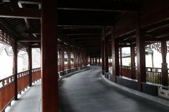 Great corridor built out of wood. The ancient corridor can now open to traffic Stock Photos