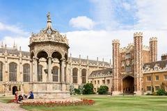 Great Court of Trinity College in Cambridge University. UK Royalty Free Stock Photo