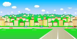 Great cozy town. Big road and a cozy cheerful city vector illustration