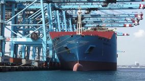 Great cranes of containers working with a containership in Algeciras. Containers special crane downloading a containership in Algeciras harbour in Cadiz stock footage