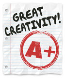 Great Creativity A Plus Grade Paper Homework Writing Report Assi. Great Creativity and A Plus grade on a writing assignment, report or paper for school or class Royalty Free Stock Photography